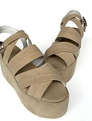 Punk Veludo 7 Salto Plataforma Marrom Lolita Shoes
