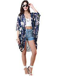 Women Printed Chiffon Kimono Cardigan Half Sleeve Casual Loose Boho Coat Blouse