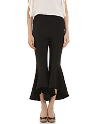 Boutique G Women's Solid Black / Yellow Bootcut Pants,Street chic