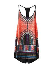 Robe Aux femmes Ample Simple,Imprimé A Bretelles Mini Polyester