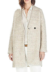 Women's Solid White Pea Coats,Simple Long Sleeve Wool