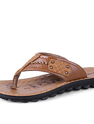 Men's Slippers & Flip-Flops Spring Summer Fall Comfort Leather Outdoor Casual Flat Heel Yellow Brown