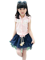 Girl's Pink / White Clothing Set Cotton Summer