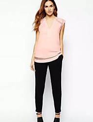 Women's Casual/Daily Simple Summer Blouse,Solid V Neck Sleeveless Pink / White Polyester Thin