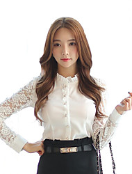 Women's Stand Collar Tulle Lace Stitching Pierced Long Sleeve OL Slim Shirt
