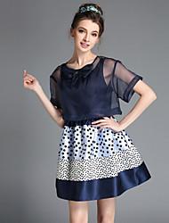 Robe Aux femmes Grandes Tailles / Deux Pièces Vintage,Mosaïque Col Arrondi Au dessus du genou Polyester / Spandex