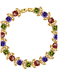 Colorful Flower Bracelet Cubic Zirconia Jewelry Girls/Women Gift Trendy 18K Gold Plated Chain Bracelet Party B40168