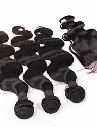 6A Peruvian Virgin Hair With Closure Body Wave Lace Closure With Bundles 4Pcs/Lot Best Hair