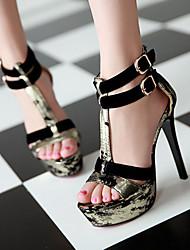Women's Shoes Heel Heels / Peep Toe / Platform Sandals Party & Evening / Dress / Casual Black / Gold/810-2