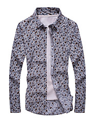 Men's Print Casual / Formal Shirt,Cotton Long Sleeve White