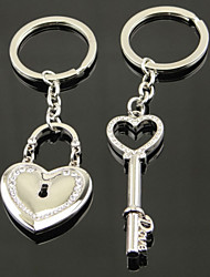 A Pair Romantic Diamond Heart Lock Couple Keychains  Valentine'S Day Gift
