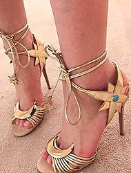 Women's Shoes Leatherette Stiletto Heel  Open Toe Sandals Party & Evening / Dress Silver / Gold