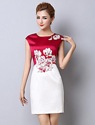 Women's Party/Cocktail Street chic Plus Size / Sheath Dress,Floral Round Neck Above Knee Sleeveless Red / Black Silk Summer