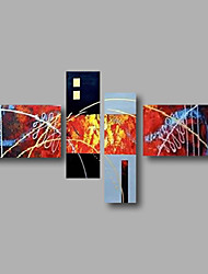 "Stretched (Ready to hang) Hand-Painted Oil Painting 64""x40"" Canvas Wall Art Modern Abstract Black Orange Blue"