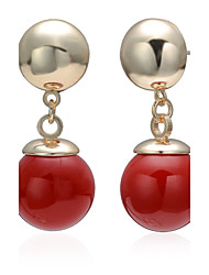 Cotton Tree Clasic Two Ball Red Solitaire Women Fashion Dangle Earrings