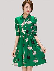 Women's Boho Print A Line Dress,Shirt Collar Knee-length Polyester
