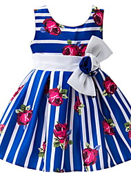 6 Month~5 Years Baby Girl's Blue/Rose Flowers Print Sleeveless Princess Party Dress/Wedding Bridesmaid/Formal Dresses
