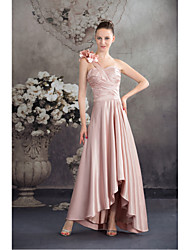 Asymmetrical Charmeuse Bridesmaid Dress-Pearl Pink A-line One Shoulder