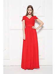 Floor-length Chiffon Bridesmaid Dress - A-line V-neck with Ruffles / Sash / Ribbon / Side Draping