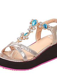 Women's Shoes Platform Sling back Sandals Dress/Casual Blue/Silver/Gold