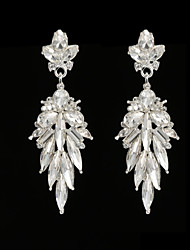 Vintage Women's  Earrings Crystal Zircon Diamond  Silver Earring For Wedding Bridal