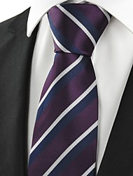 KissTies Men's White Navy Striped Plum Microfiber Tie Necktie For Wedding Party Holiday With Gift Box