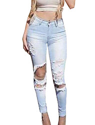 Women's Solid Vintage Slim Hole Resile Casual Pant