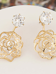 Earring Stud Earrings / Drop Earrings Jewelry Women Alloy / Cubic Zirconia 2pcs Gold / White