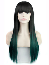 "30""Long Straight Ombre Wig Females Cheap Synthetic two tone Full Bangs Wigs African American Wigs"