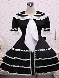 Steampunk®Cotton Black Ruffles Gothic Lolita Dress