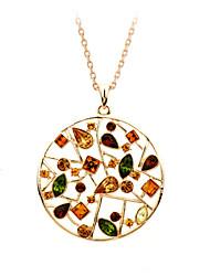 Feminino Casal Colares com Pendentes Cristal Formato Circular Cristal Zircônia Cubica Liga Moda Adorável Jóias de Luxo Colorido Jóias Para