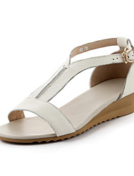 Women's Summer Wedges Leather Casual Wedge Heel Others White