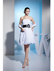 Cocktail Party Dress A-line Strapless Knee-length Chiffon / Charmeuse