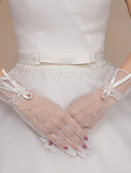 Wrist Length Fingertips Glove Tulle Bridal Gloves Party/ Evening Gloves Beading Floral Bow