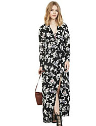 Women's Street chic Floral A Line Dress,V Neck Maxi Polyester