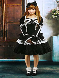 Steampunk®Cotton Black Lace Bow Lolita Dress Outfit