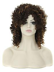 18 inch goedkope afro lange kinky krullende pruik voor zwarte vrouwen goedkope realistische synthetisch haar natuurlijke pruiken