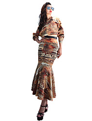 Dress skirt suit bag hip fishtail skirt Dress of air layer Pope printed dresses