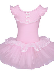 Kid Girl's Pink Short Sleeve Ballet Tutu Dress Kid Gymnastics Leotard Lace Ruffle Dance wear with Bowknot for 3~8 Y