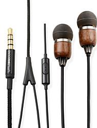 littlebigsound Teak Premium-Echtholz In-Ear geräuschisolierenden Kopfhörer mit Mikrofon&Fernbedienung für Smartphone