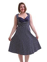 Women's Going out / Casual/Daily / Plus Size Vintage A Line Dress,Polka Dot Sweetheart Knee-length Sleeveless Blue / Red Cotton / Spandex