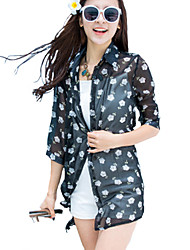 Women's Beach Boho Summer Shirt,Floral Shirt Collar ½ Length Sleeve Black Polyester Thin