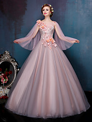 Princess Wedding Dress-Orange Court Train Bateau Lace / Tulle