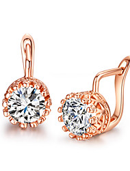 Stud Earrings Crystal Cubic Zirconia Simulated Diamond Alloy Silver Rose Gold Jewelry 2pcs