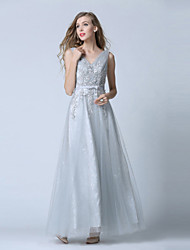 Prom Formal Evening Dress - Elegant Ball Gown V-neck Ankle-length Lace Tulle with Lace Sash / Ribbon