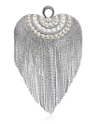 L.west Women Tassel Heart-shape Pearl Diamonds Evening Bag