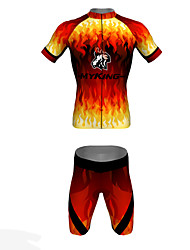 MYKING Men's Cycling Bike Short Sleeve Clothing Set Bicycle Wear Suit Jersey and Shorts Passion Fire