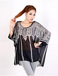 Women's Print Black Blouse,Round Neck ¾ Sleeve