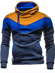 Men's Sports Simple Hoodie Color Block Micro-elastic Polyester Long Sleeve Fall Winter