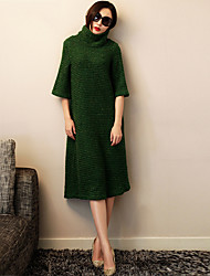 Damen Kleid - Etuikleid Arbeit / Leger / Einfach Solide Midi Polyester Rollkragen